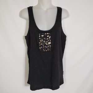 J.Crew Tissue Tulle Jewel Tank Top Gray 30124 Gray